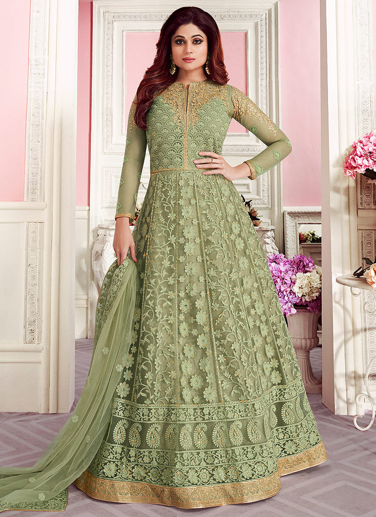 Pastel Green Heavy Embroidered Anarkali