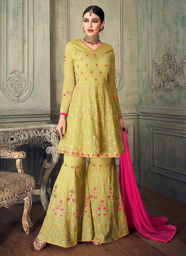 Light Green and Gold Embroidered Gharara Suit