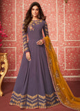 Blue and Yellow Embroidered Anarkali