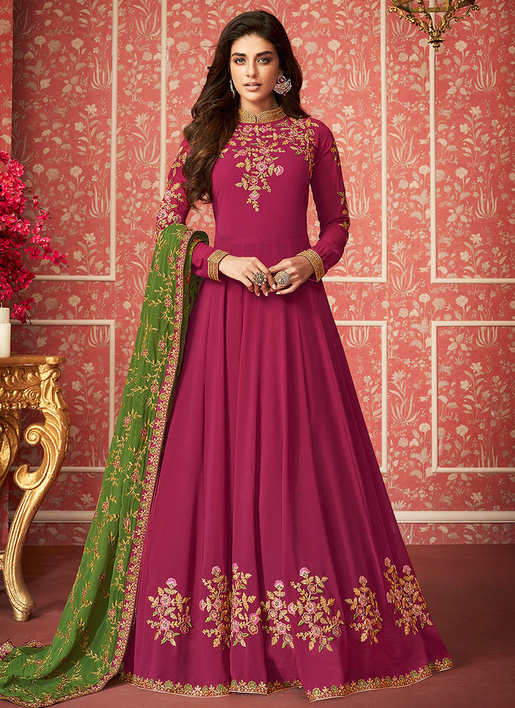 Pink and Green Embroidered Anarkali