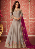 Grey and Magetna Embroidered Anarkali