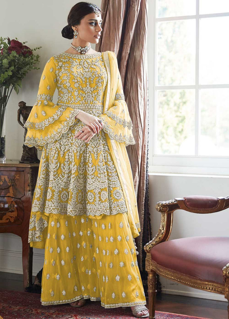 Adorable Yellow Partywear Sharara Style Suit