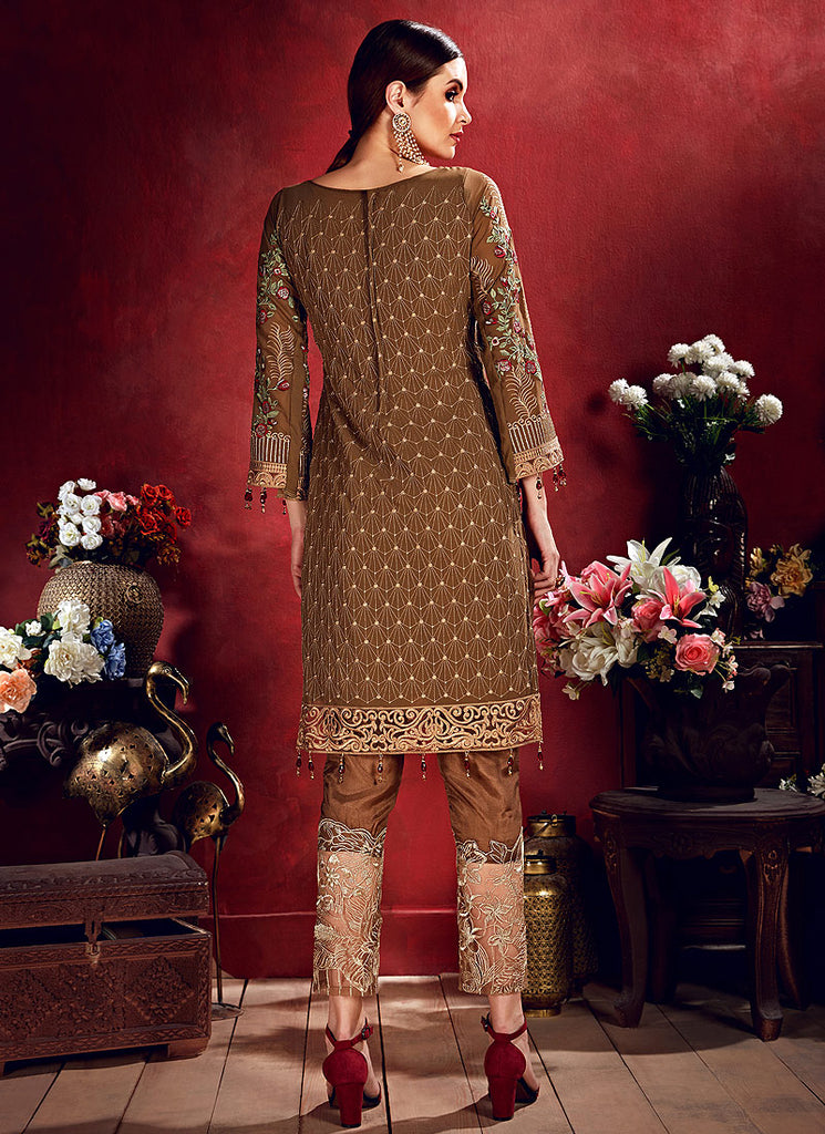 Brown Floral Embroidered Straight Pant Suit