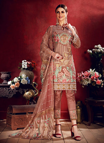 Nude Peach Floral Embroidered Straight Pant Suit