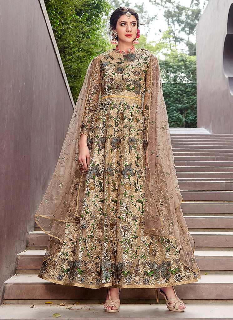Beige Floral Embroidered Anarkali Gown