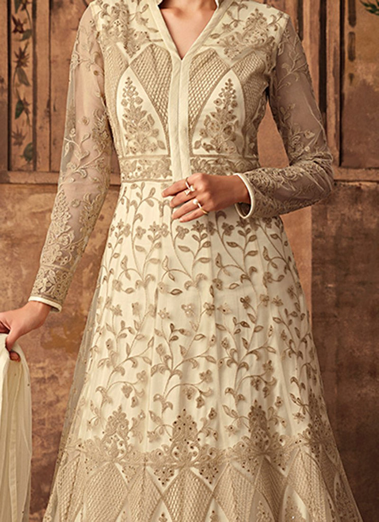 Cream Embroidered Abaya Style Anarkali Suit