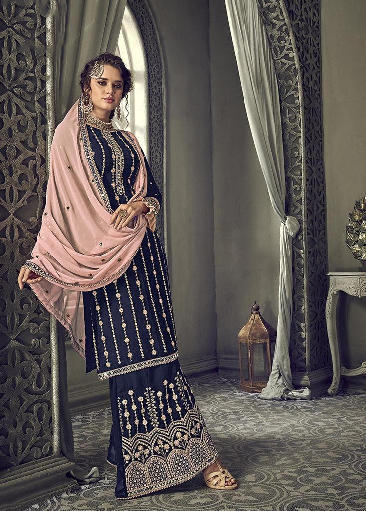 Cheerful Navy Blue Party Wear Palazzo Style Suit