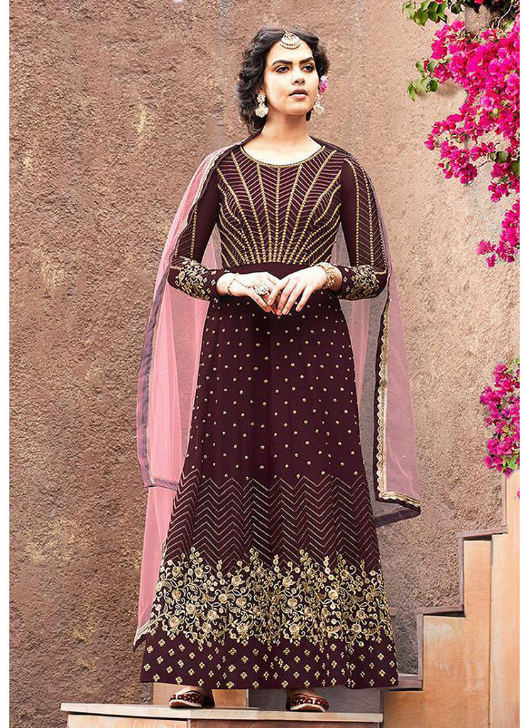 Brown and Pink Embroidered Anarkali