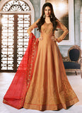 Beige and Red Embroidered Anarkali