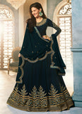 Dark Teal and Gold Embroidered Anarkali