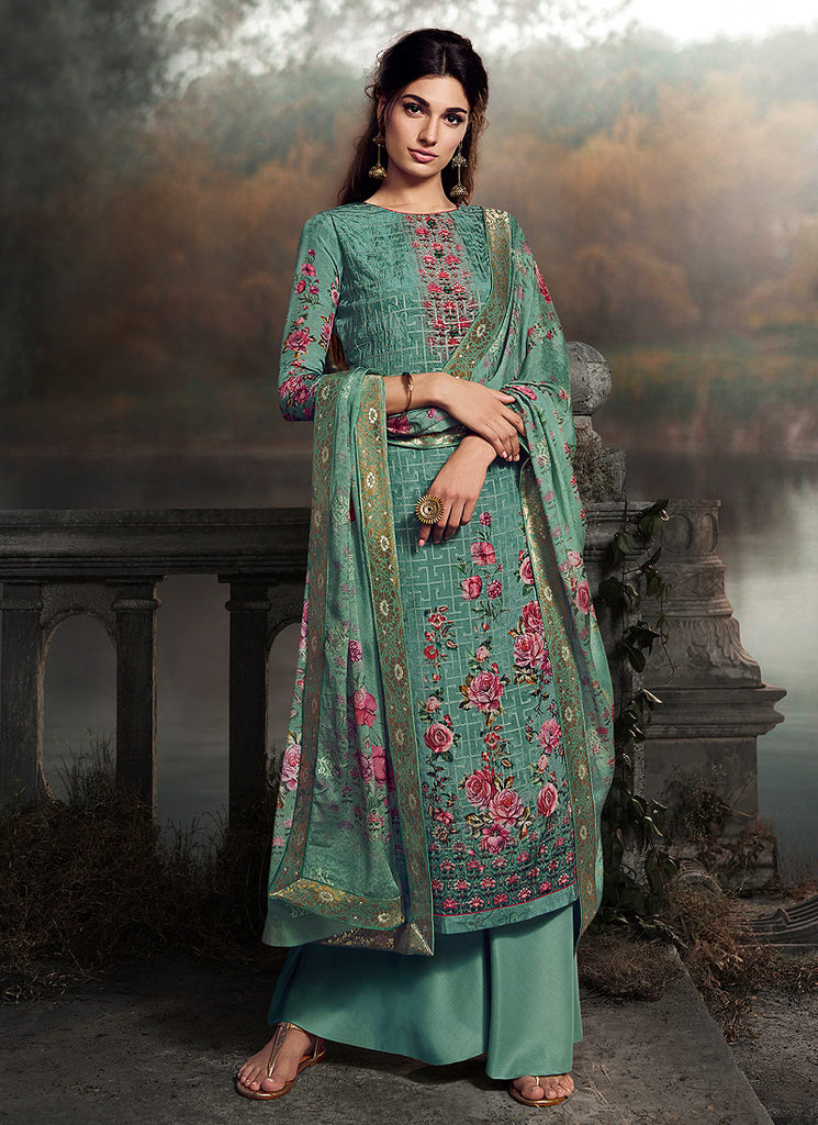 Aqua Embroidered + Printed Palazzo Suit