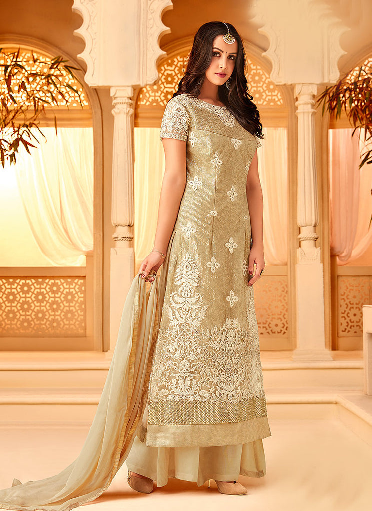 Light Green Embroidered Palazzo Suit