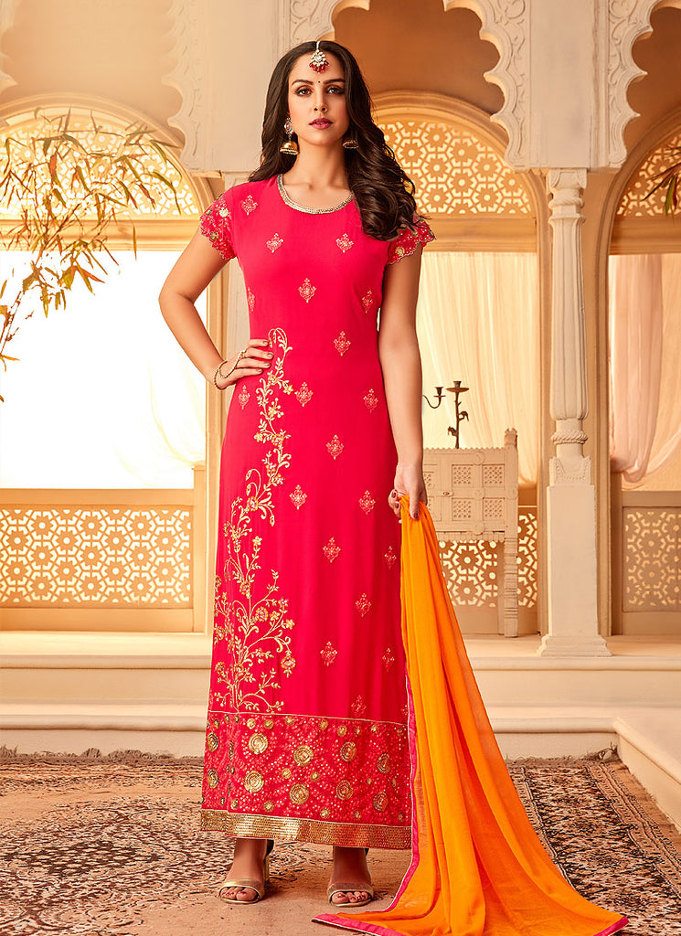 Pink and Orange Embroidered Straight Suit