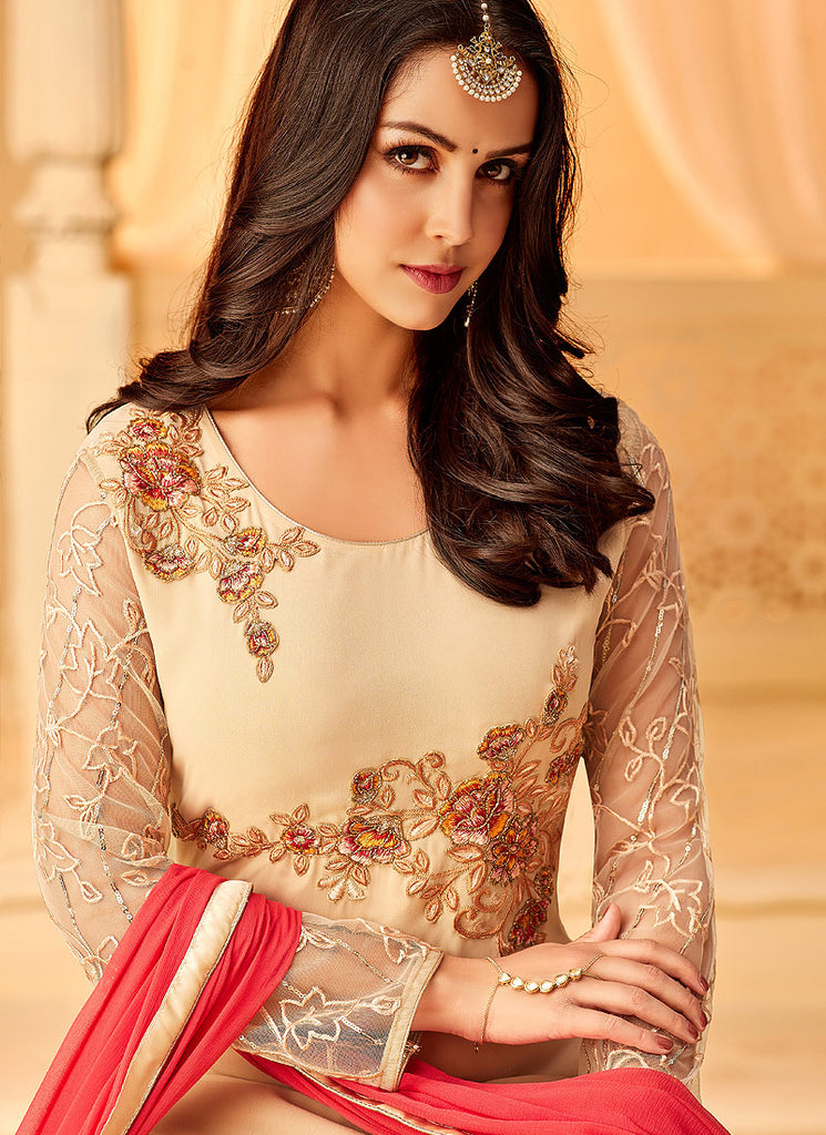 Cream and Pink Embroidered Straight Suit