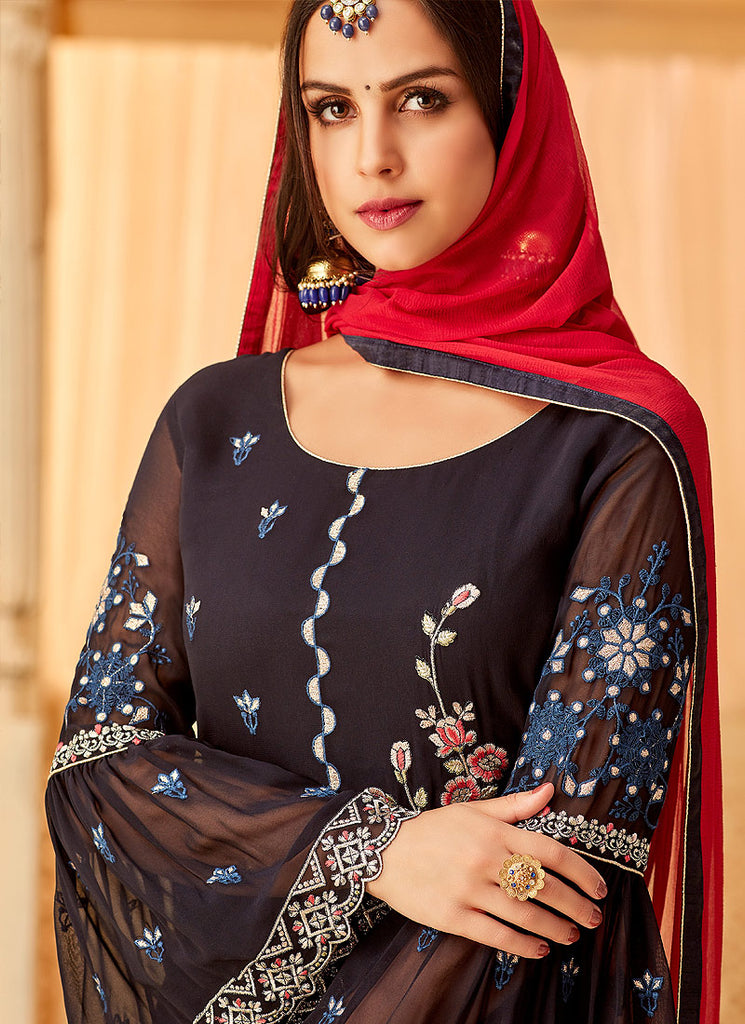 Dark Blue and Red Embroidered Palazzo Suit