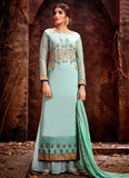 Sky Green Embroidered Palazzo Suit