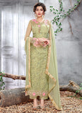 Green Floral Embroidered Straight Cut Suit