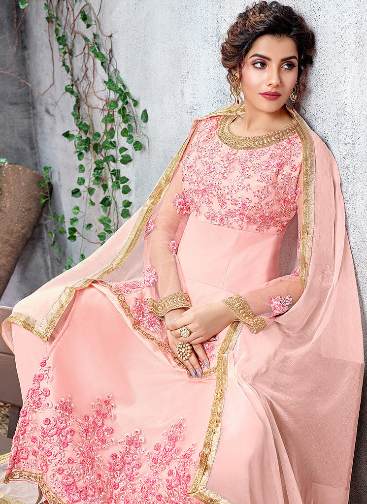 Light Pink Floral Embroidered Straight Suit