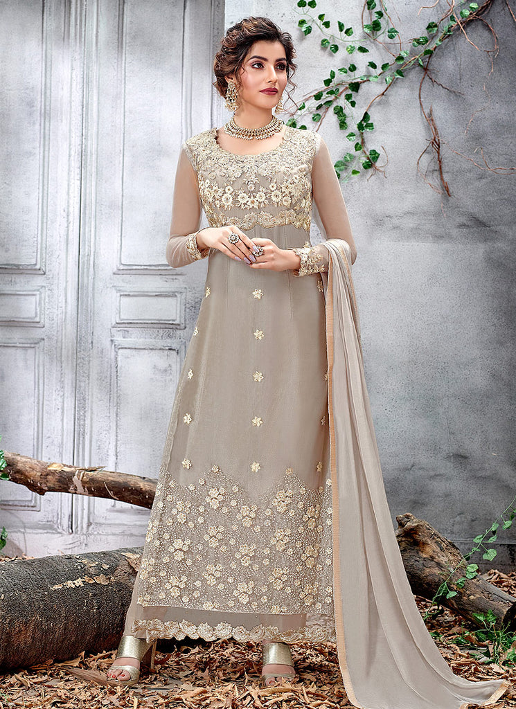 Grey Floral Embroidered Straight Suit