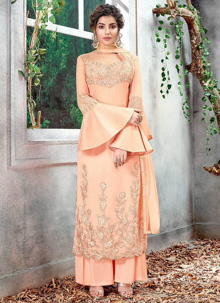 Peach Embroidered Palazzo Suit