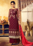 Maroon and Gold Embroidered Palazzo Suit
