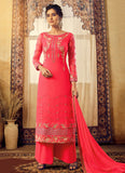 Pink and Gold Embroidered Palazzo Suit