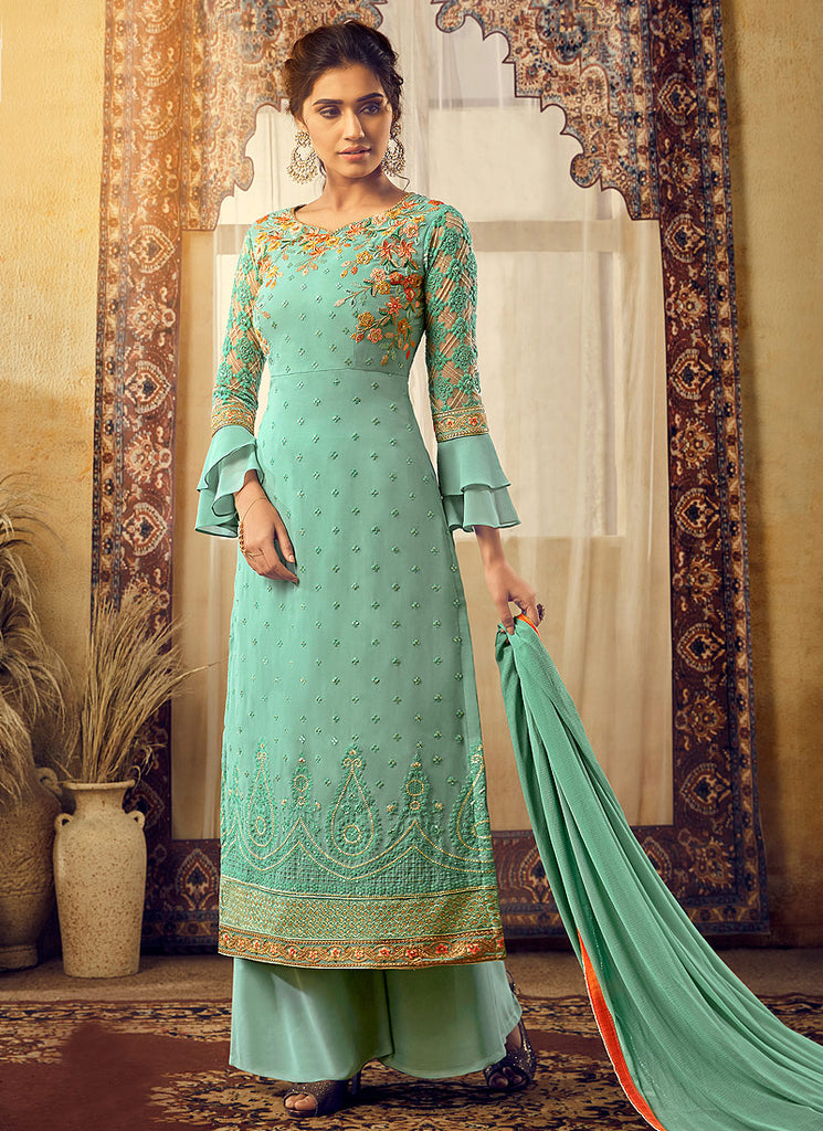 Sea Green and Gold Embroidered Palazzo Suit