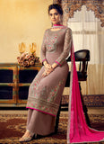 Light Brown and Pink Embroidered Palazzo Suit