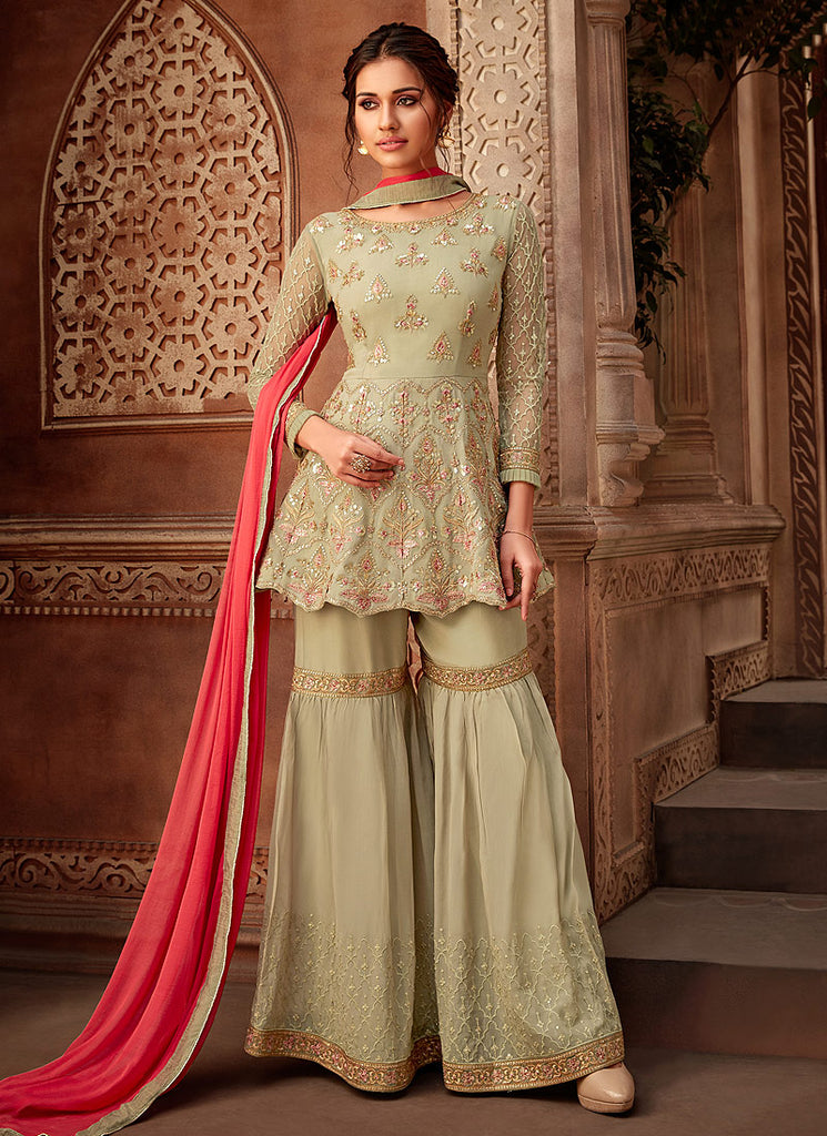 Light Green Floral Embroidered Gharara Suit