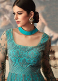 Turquoise Floor Length Embroidered Anarkali Suit