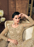 Golden Cream Embroidered Palazzo Suit