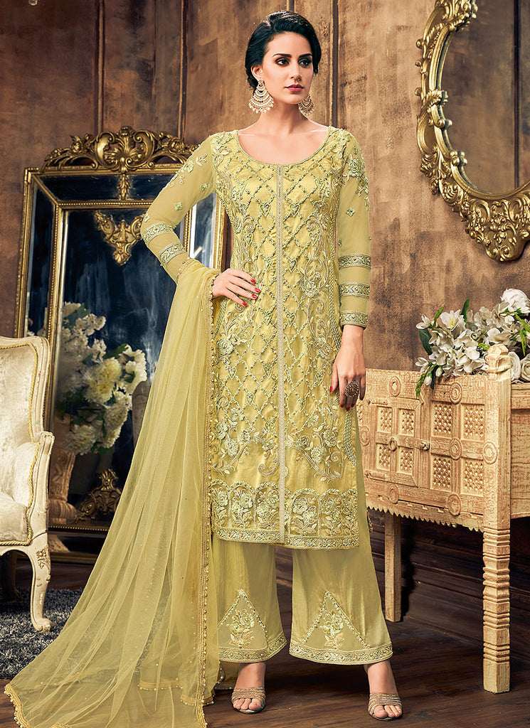 Olive Green Embroidered Palazzo Suit