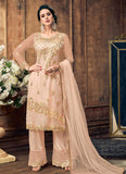 Light Peach Embroidered Palazzo Suit