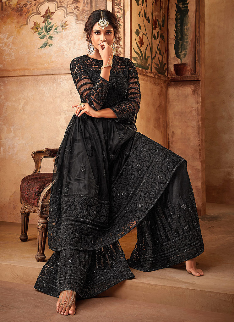Black Embroidered Sharara Suit
