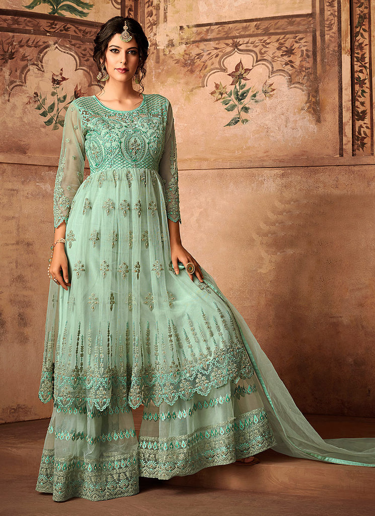 Aqua Blue Embroidered Sharara Suit