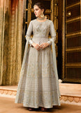 Light Grey and Gold Embroidered Anarkali