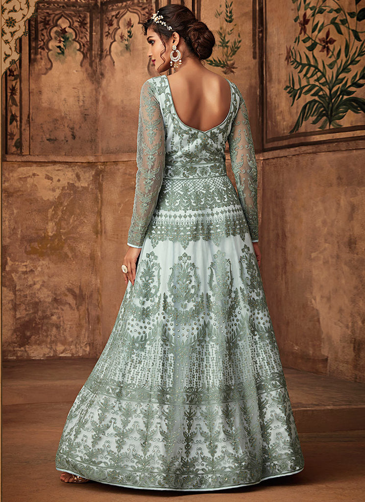 Light Blue Embroidered Abaya Style Anarkali Suit