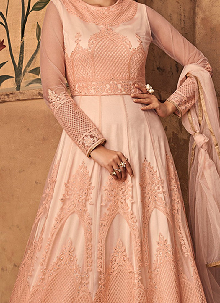 Light Peach Embroidered Abaya Style Anarkali Suit