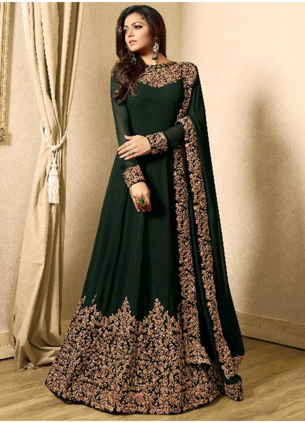 DARK GREEN AND GOLD EMBROIDERED ANARKALI