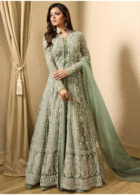 PASTEL GREEN EMBROIDERED JACKET STYLE ANARKALI