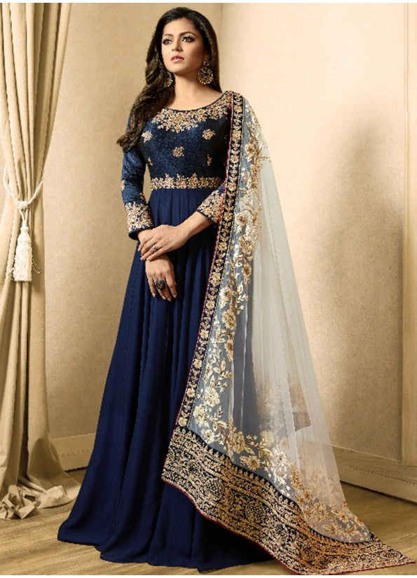 NAVY BLUE AND GOLD EMBROIDERED ANARKALI