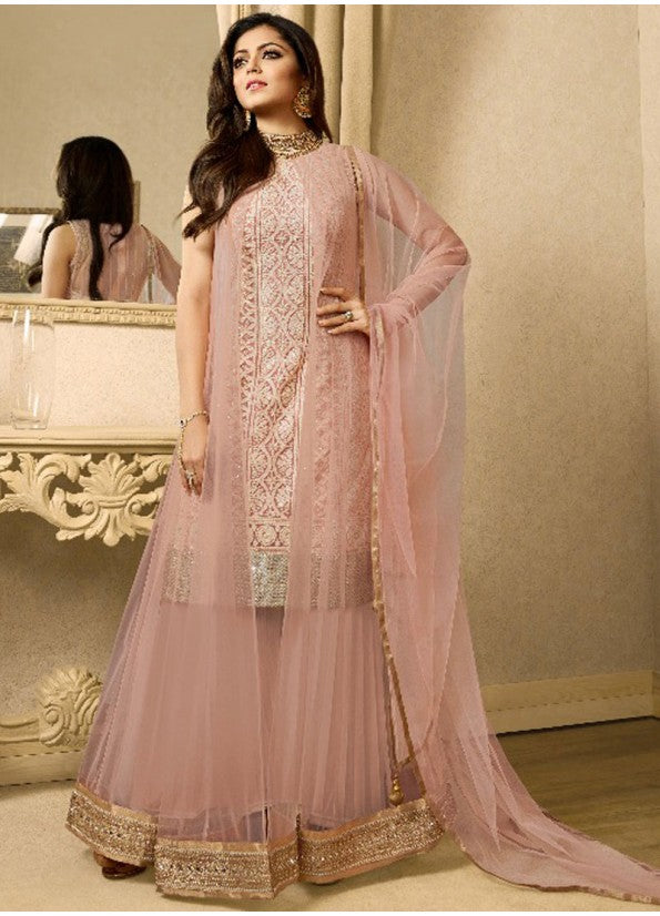 LIGHT PINK EMBROIDERED JACKET STYLE SUIT