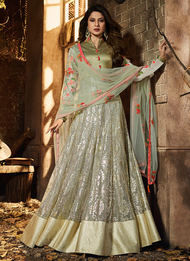 Light Green Floral Embroidered Anarkali