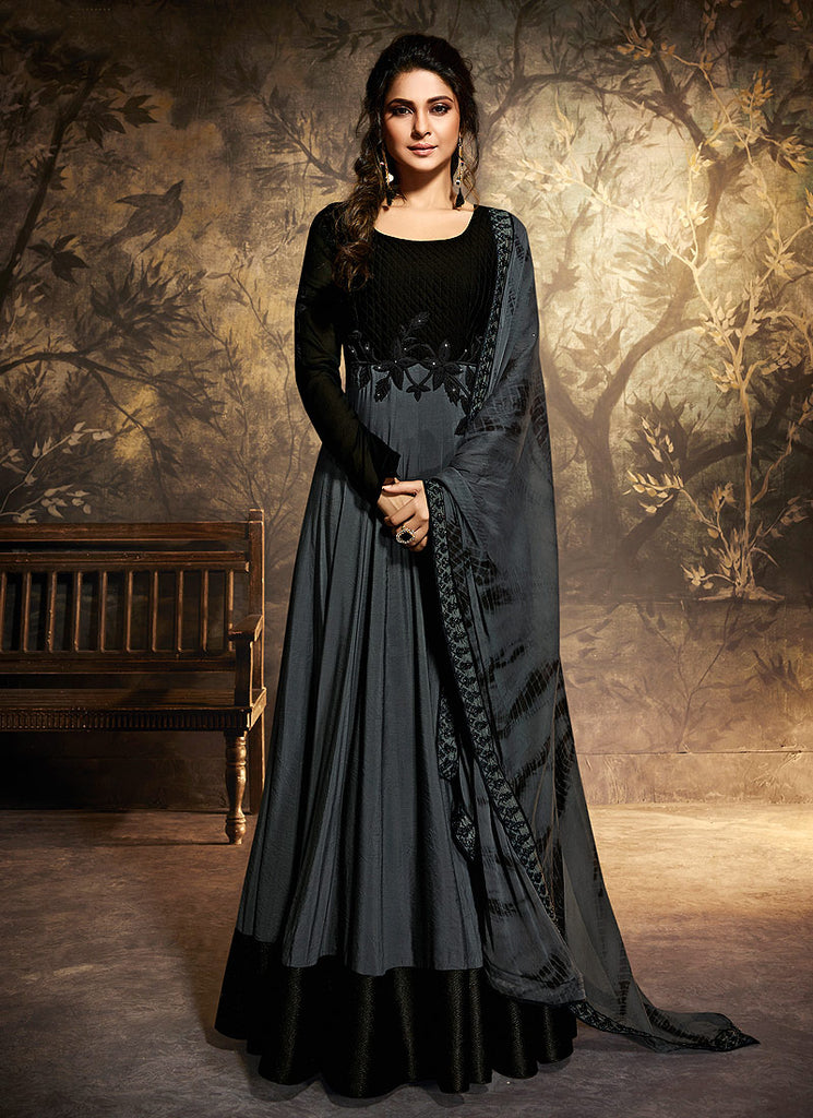 Black and Grey Embroidered Anarkali Gown