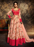 Peach and Pink Embroidered Anarkali Gown