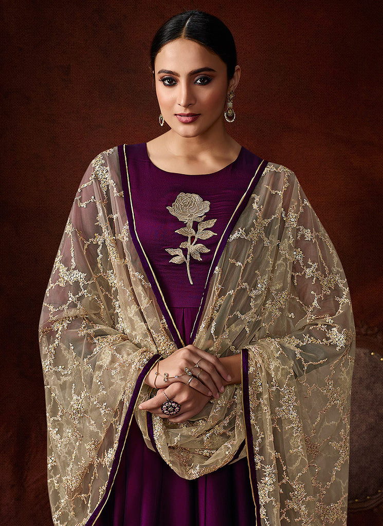 Wine and Gold Embroidered Anarkali Gown