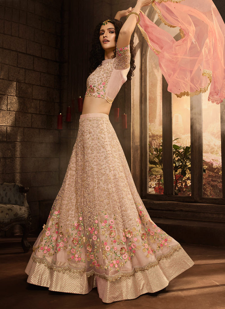 Light Pink Floral Embroidered Lehenga