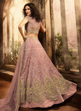 Light Purple and Gold Embroidered Lehenga