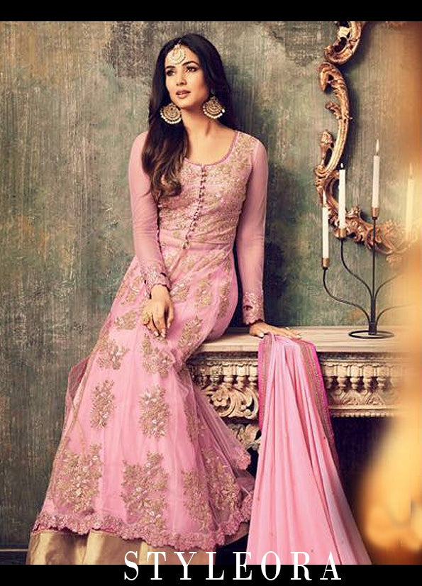 PINK EMBROIDERED LEHENGA / PANT STYLE ANARKALI