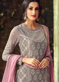 Grey Embroidered Straight Cut Suit
